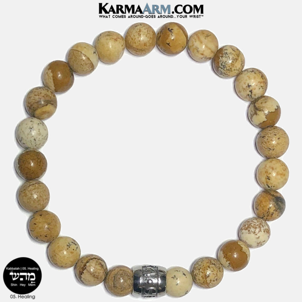 Kabbalah 05 Healing Mem Hey Shin Meditation Mantra Yoga Bracelets. Self Care Wellness Wristband Jewelry.  Picture Jasper.