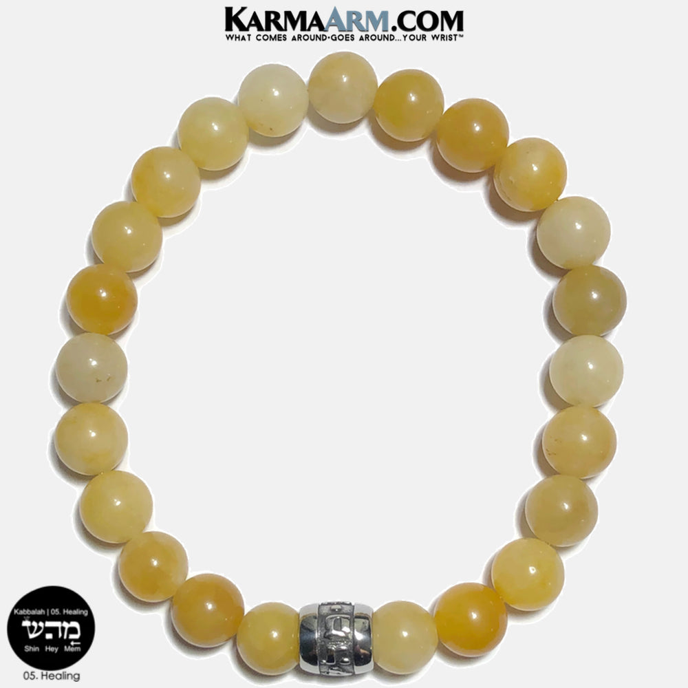 Kabbalah 05 Healing Mem Hey Shin Meditation Mantra Yoga Bracelets. Self Care Wellness Wristband Jewelry. Yellow Aventurine. copy 15