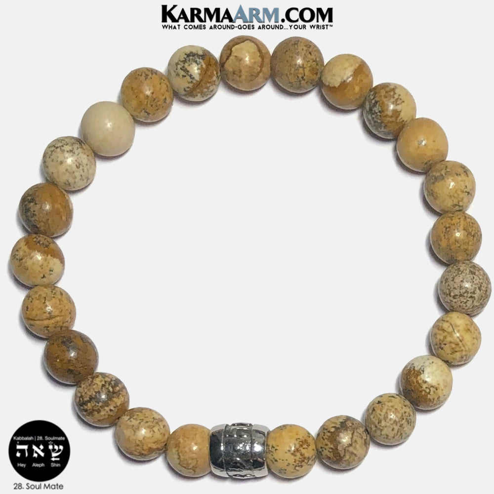 Kabbalah Soul Mate Soulmate Shin Aleph Hey Meditation Mantra Yoga Bracelets. Self Care Wellness Wristband Jewelry. Picture Jasper.