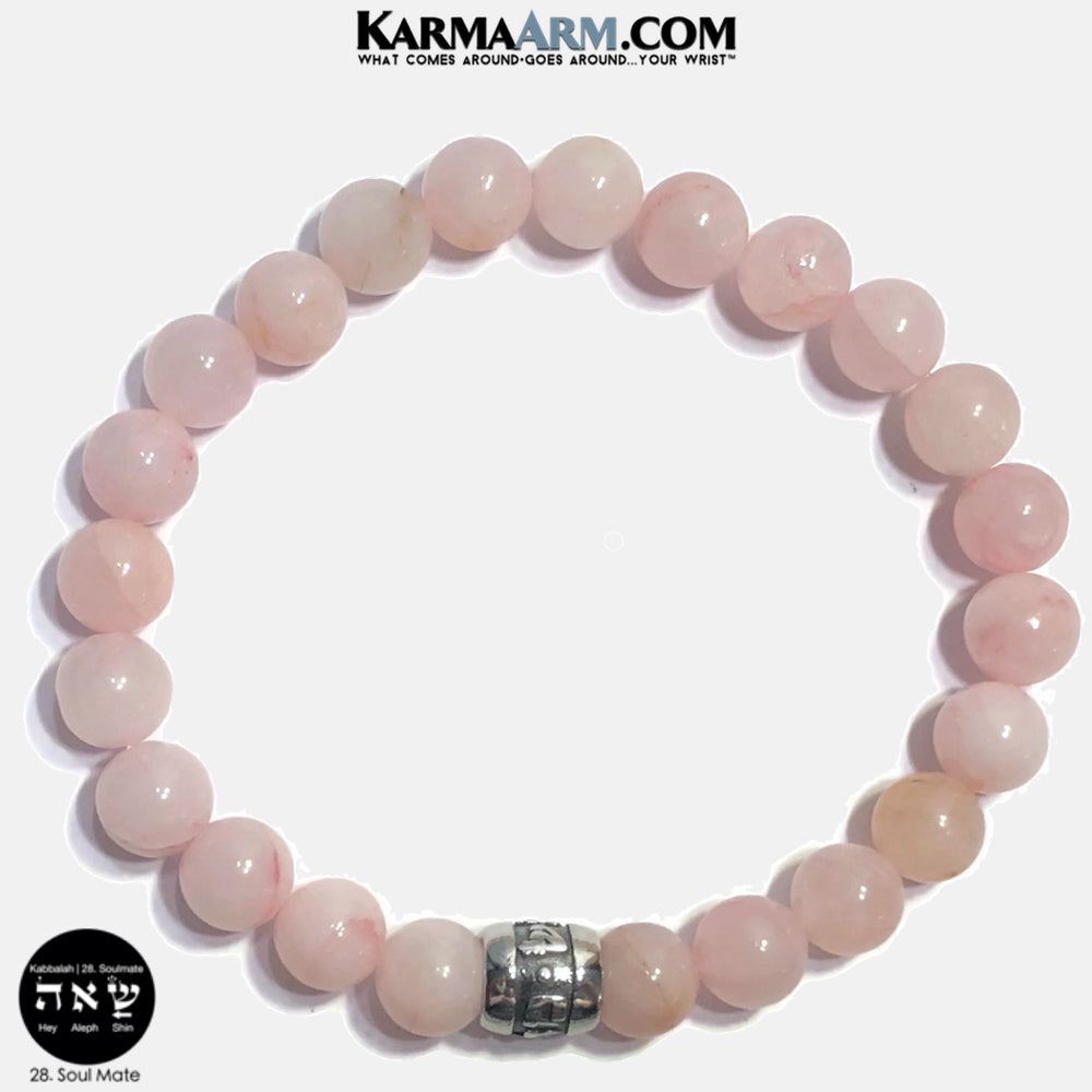 Kabbalah Soul Mate Soulmate Shin Aleph Hey Meditation Mantra Yoga Bracelets. Self Care Wellness Wristband Jewelry. Rose Quartz.