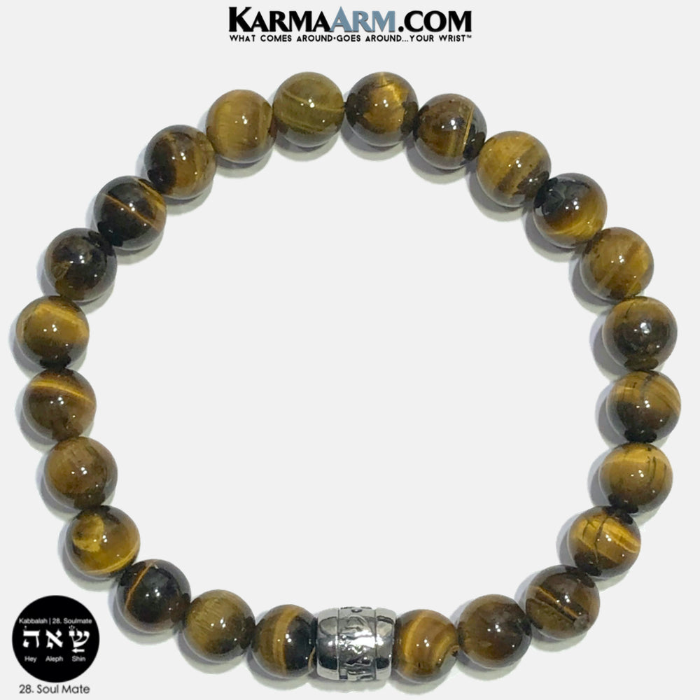 Kabbalah Soul Mate Soulmate Shin Aleph Hey Meditation Mantra Yoga Bracelets. Self Care Wellness Wristband Jewelry. Tiger Eye.