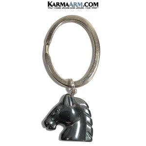 Keychains. Key Chains. Keyrings. Key Rings. Hematite Carved Horse..
