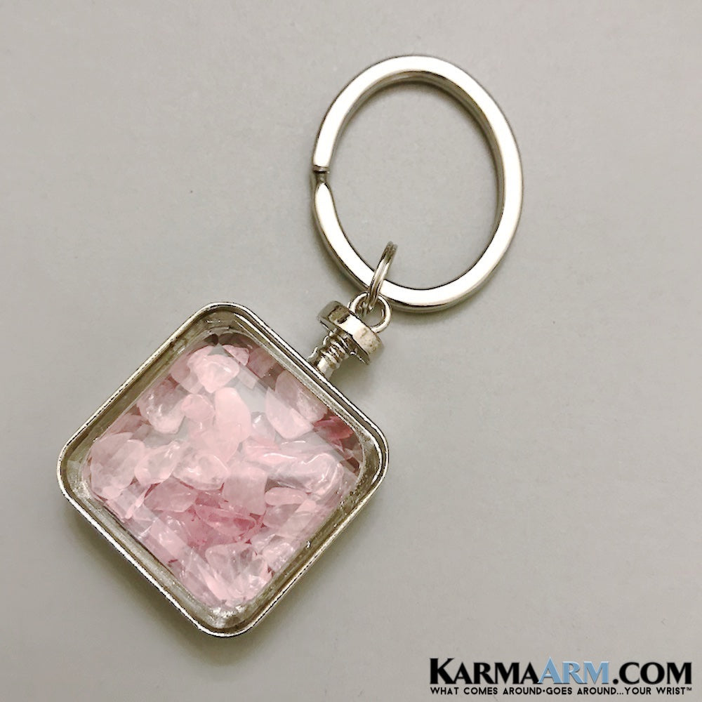 Keychains. Key rings. Reiki healing charm keyrings. Chakra gemstone kundalini. Love gifts. Pink Rose quartz Wishing Bottle.