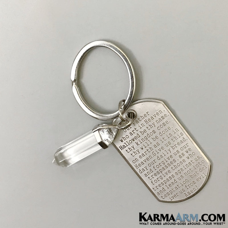 Keychains. Lord's Prayer Reiki Healing Charm Keyrings. Chakra Key Ring. Love Gifts. Clear Quartz..