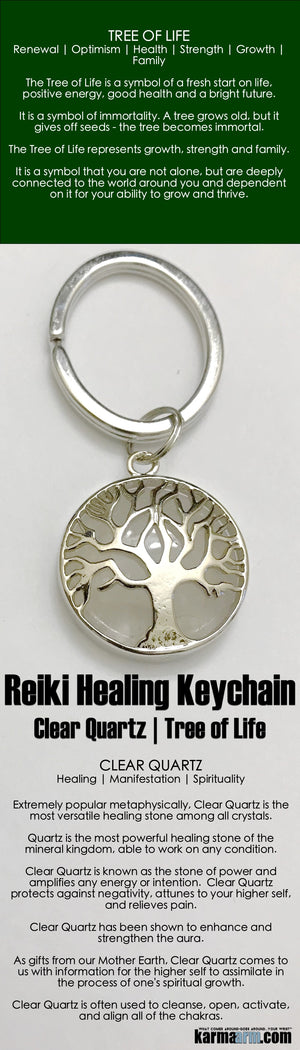 Keychains. Reiki Healing Charm Keyrings. Chakra Gemstone Kundalini  Key Ring. Love Gifts. Tree of Life Cear Quartz..