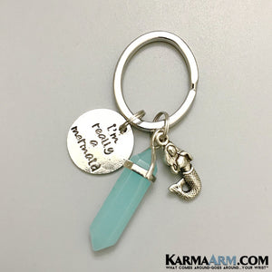 Keychains. Reiki healing charm keyrings. Chakra gemstone kundalini. Love gifts. Blue Jade Mermaid Key Rings.