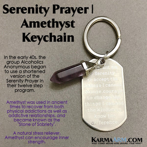 Keychains. Serenity Prayer Alcoholics Anonymous. Reiki Healing Charm Keyrings. Key Ring. Amethyst.  .