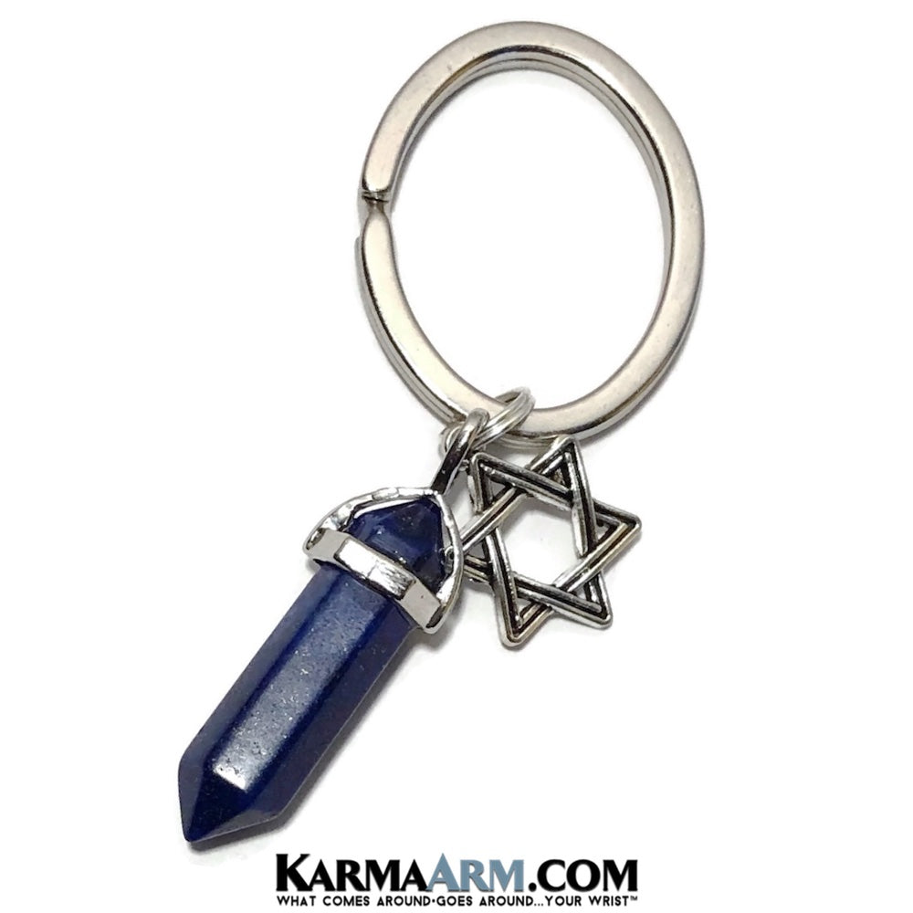 Keychains. Star of David Lapis. Reiki Healing Charm Keyrings. Chakra Gemstone Key Ring. Love Gifts.