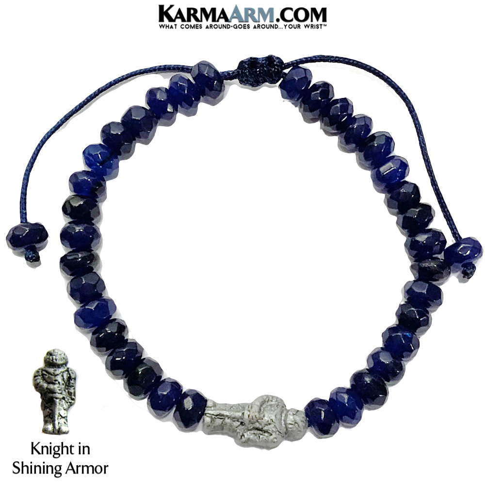 Knight in Shining Armor Meditation Yoga Bracelet. Love Jewelry.  Blue Jade.