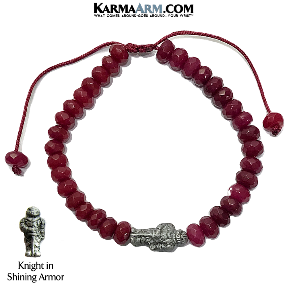 Knight in Shining Armor Meditation Yoga Bracelet. Love Jewelry.  Red Jade.