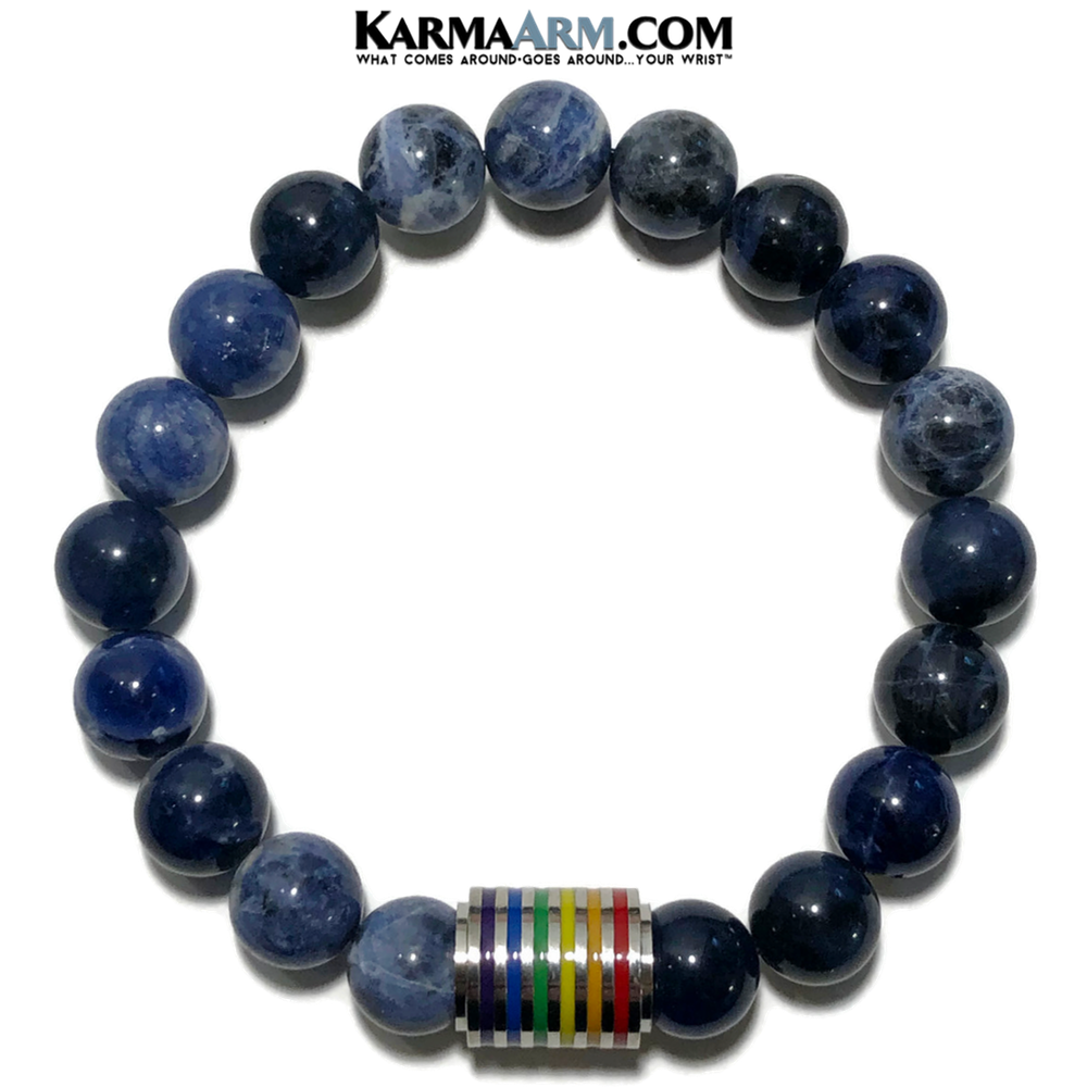 LBGTQ PRIDE Meditation Mantra Yoga Bracelet. Meditation Self-Care Wellness Wristband Zen bead mala Jewelry. SODALITE.