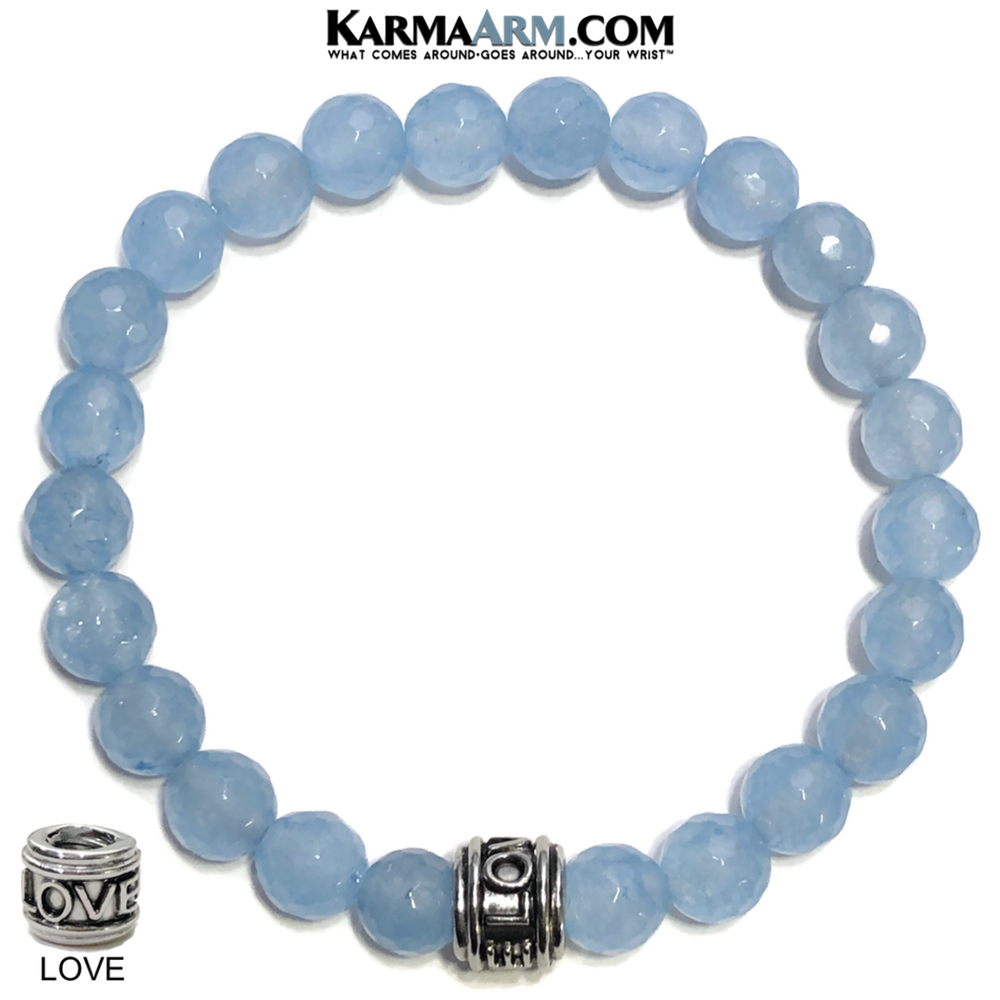 LOVE BRACELET Meditation Mantra Yoga Bracelets. Mens Wristband Jewelry. Blue Jade.