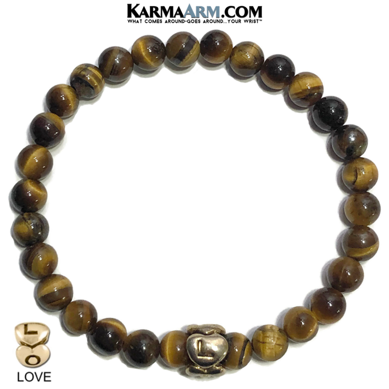 SURROUNDED IN STRENGTH | Tiger Eye | Heart Love Eternity Bead Bracelet