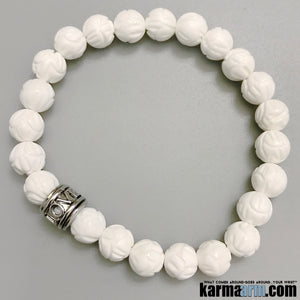 LOVE Bracelets. Yoga Jewelry. Lotus Tridacna Love. Gifts Love Stretch Mala. Mens Beaded Chakra Bracelet.