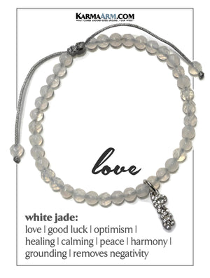 LOVE CHARM BRACELET. Self-Care Wellness Meditation Mantra Yoga Wristband White Jade.
