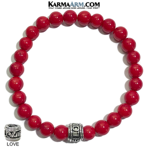 LOVE Meditation Mantra Yoga Bracelet. Self-Care Wellness Wristband Jewelry. Red Coral.