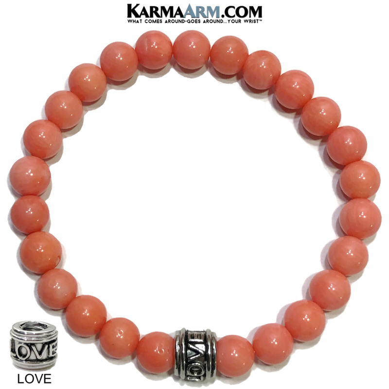 LOVE Bead Meditation Self-Care Wellness Yoga Bracelets. Mens Wristband Jewelry. Pink Coral.