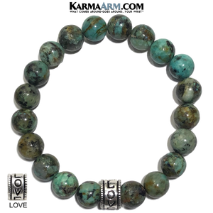 LOVE Meditation Wellness Yoga Bracelets. Mens Wristband Jewelry. African Turquoise.