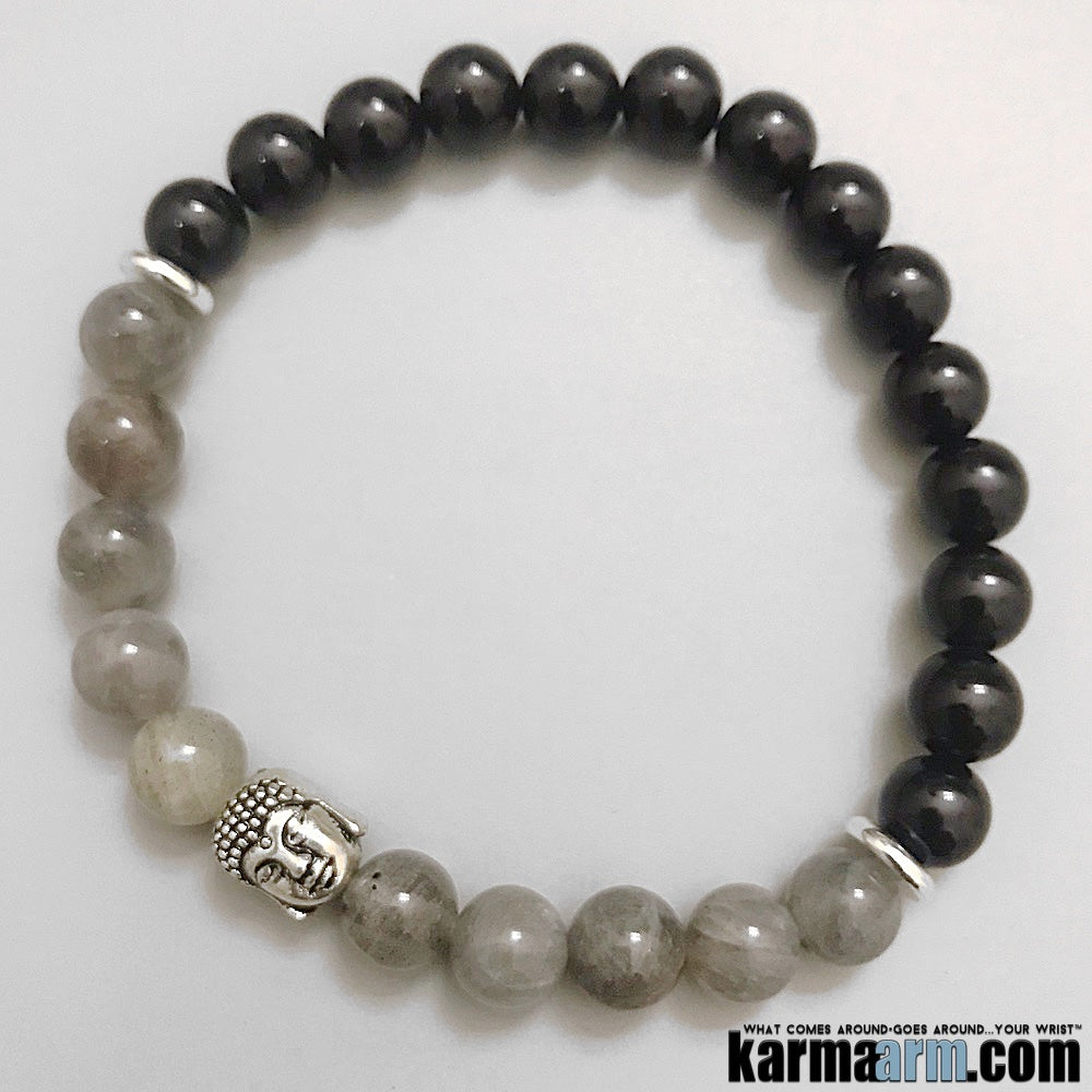 Mens Beaded Bracelet. Buddha Chakra Mala Stretch Yoga Jewelry. Meditation Energy Healing.