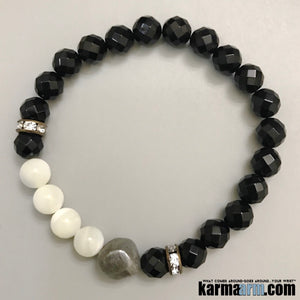 Mens Beaded Yoga Bracelets. Chakra Mala Stretch Yoga Jewelry. Energy Healing Meditation.