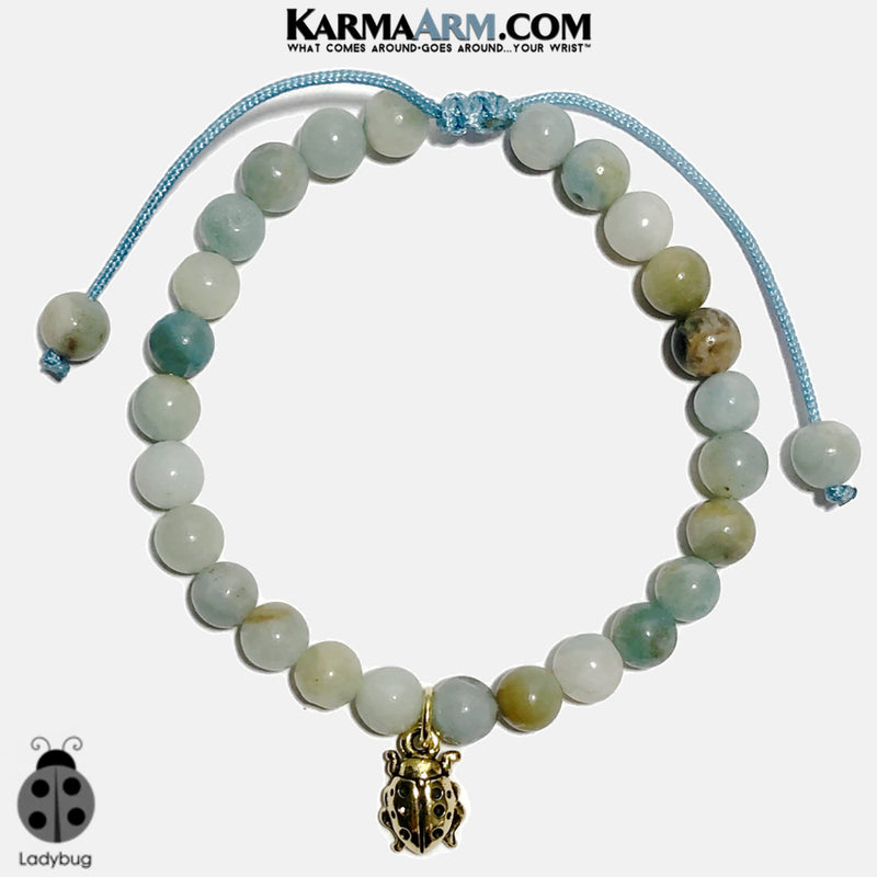 Ladybug Charm Meditation Mantra Yoga Bracelets. Mens Wristband Jewelry. Amazonite. copy