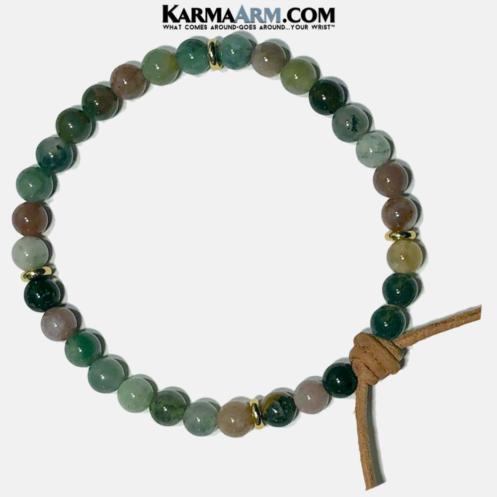 Leather Knot Wellness Self-Care Meditation Mantra Yoga Bracelets. Mens Wristband Jewelry. Indian Agate.  copy