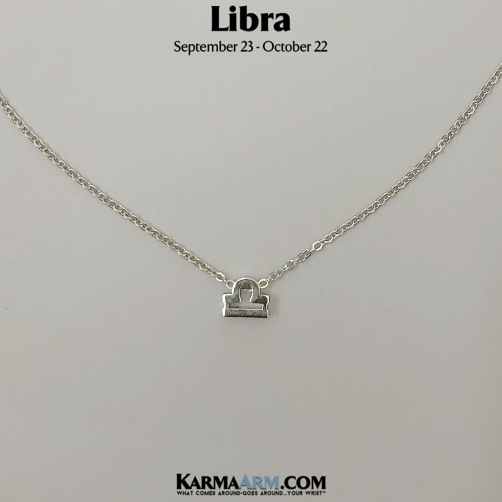 LIBRA | Zodiac | Astrology Collection: 18K White Gold PL | Birth Sign Necklace.