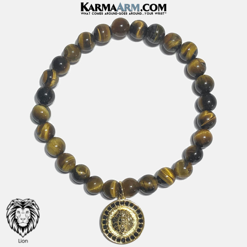 Lion Charm Meditation Self-care wellness Mantra Yoga Bracelets. Mens Wristband Jewelry. Tiger Eye. copy