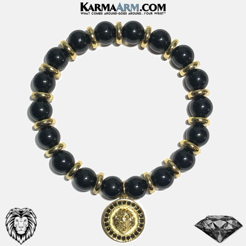 Lion Medallion Wellness Self-Care Meditation Yoga Bracelets. Mens Wristband Jewelry. Black Onyx.