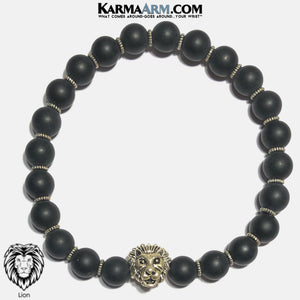 Lion Meditation Yoga Bracelet. Mens Self-Care Wellness Wristband Jewelry. Black Onyx.