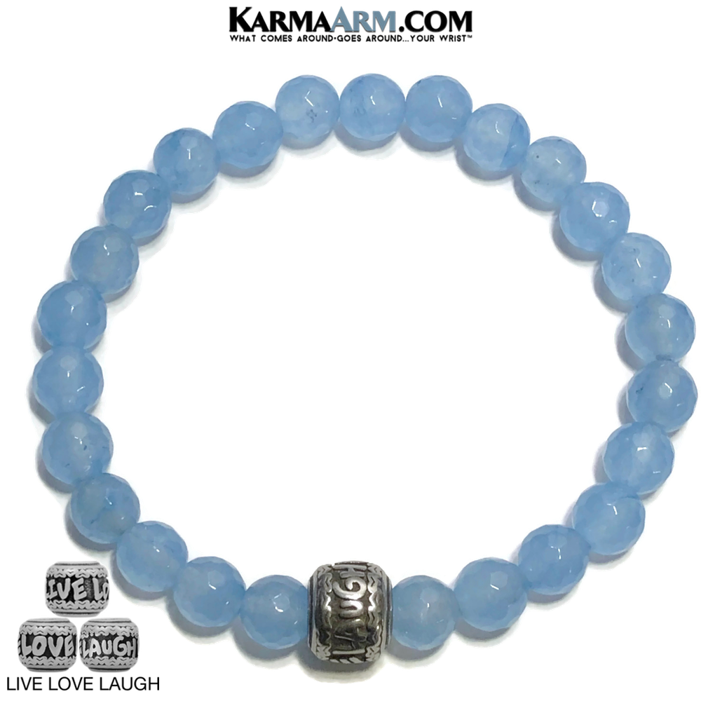 Live Laugh Love Bracelet. Meditation Mantra Yoga Bracelets. Mens Wristband Jewelry. Blue Jade.