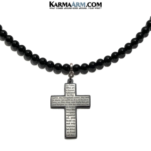 Lords prayer necklace. our Father beaded meditation prayer jewelry.