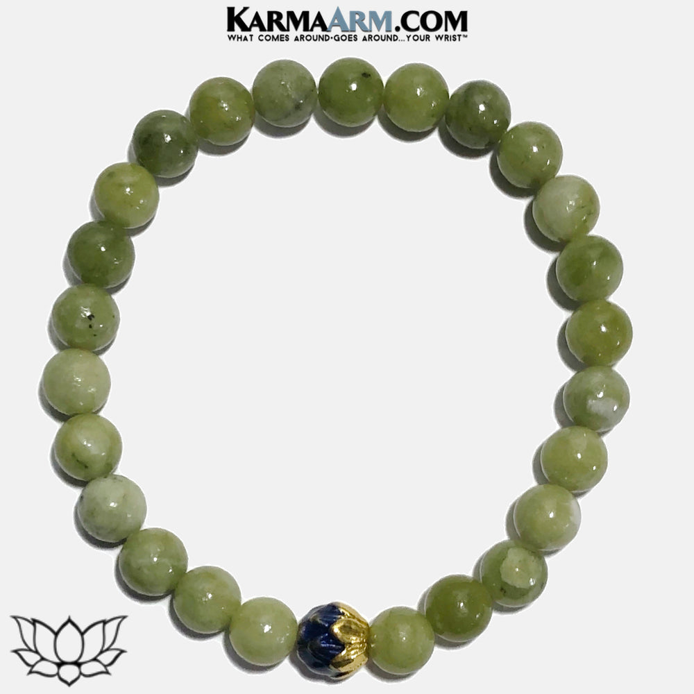 Lotus Flower Meditation Mantra Yoga Bracelets. Self-Care Wellness Wristband Jewelry. Green Jade. copy