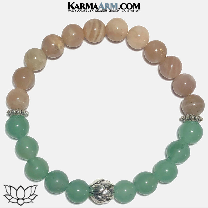 Lotus Flower Meditation Mens Yoga Bracelet. Self-Care Wellness Wristband Yoga Jewelry. Sunstone Green Aventurine.