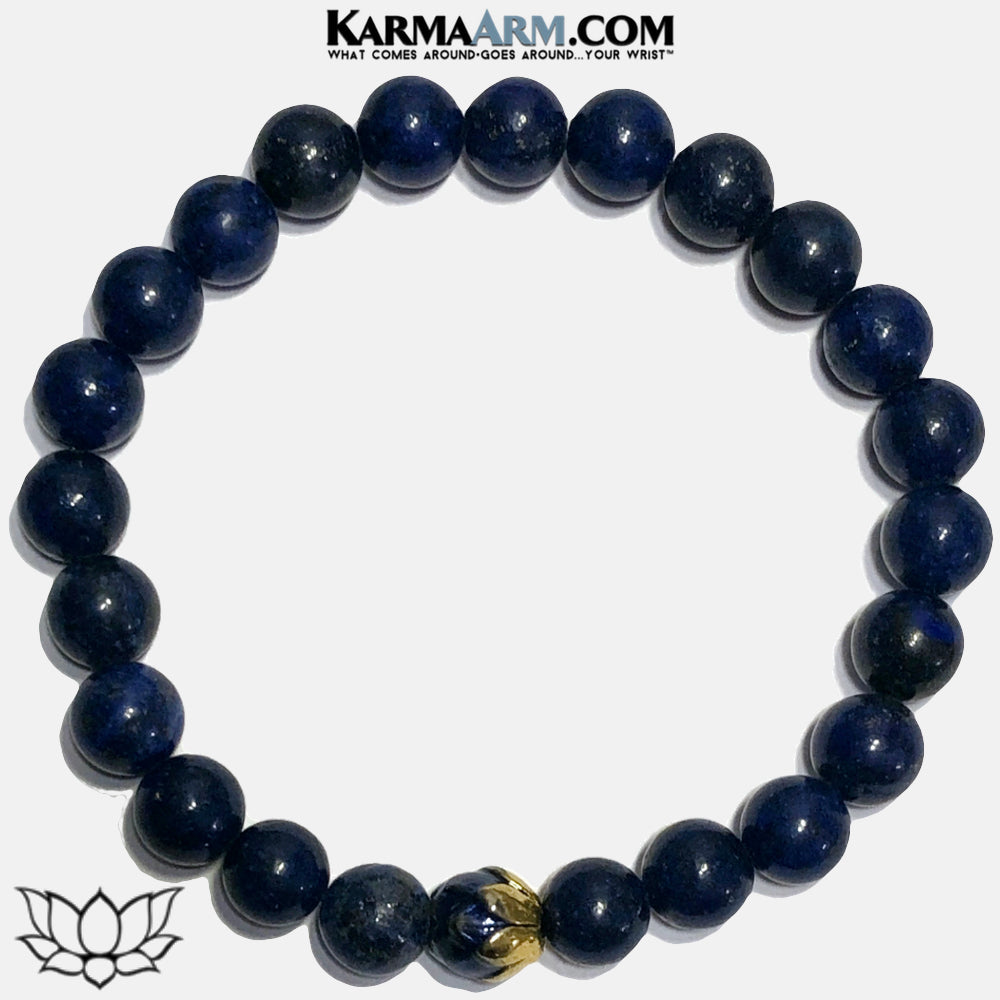 Lotus Flower Meditation Self-Care Wellness Mantra Yoga Bracelets. Mens Wristband Jewelry. Lapis.  copy