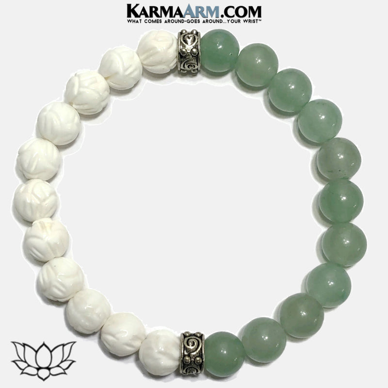 Lotus Meditation Wellness Yoga Bracelets. Mens Wristband Jewelry. Aventurine Lotus Carved Tridacna.