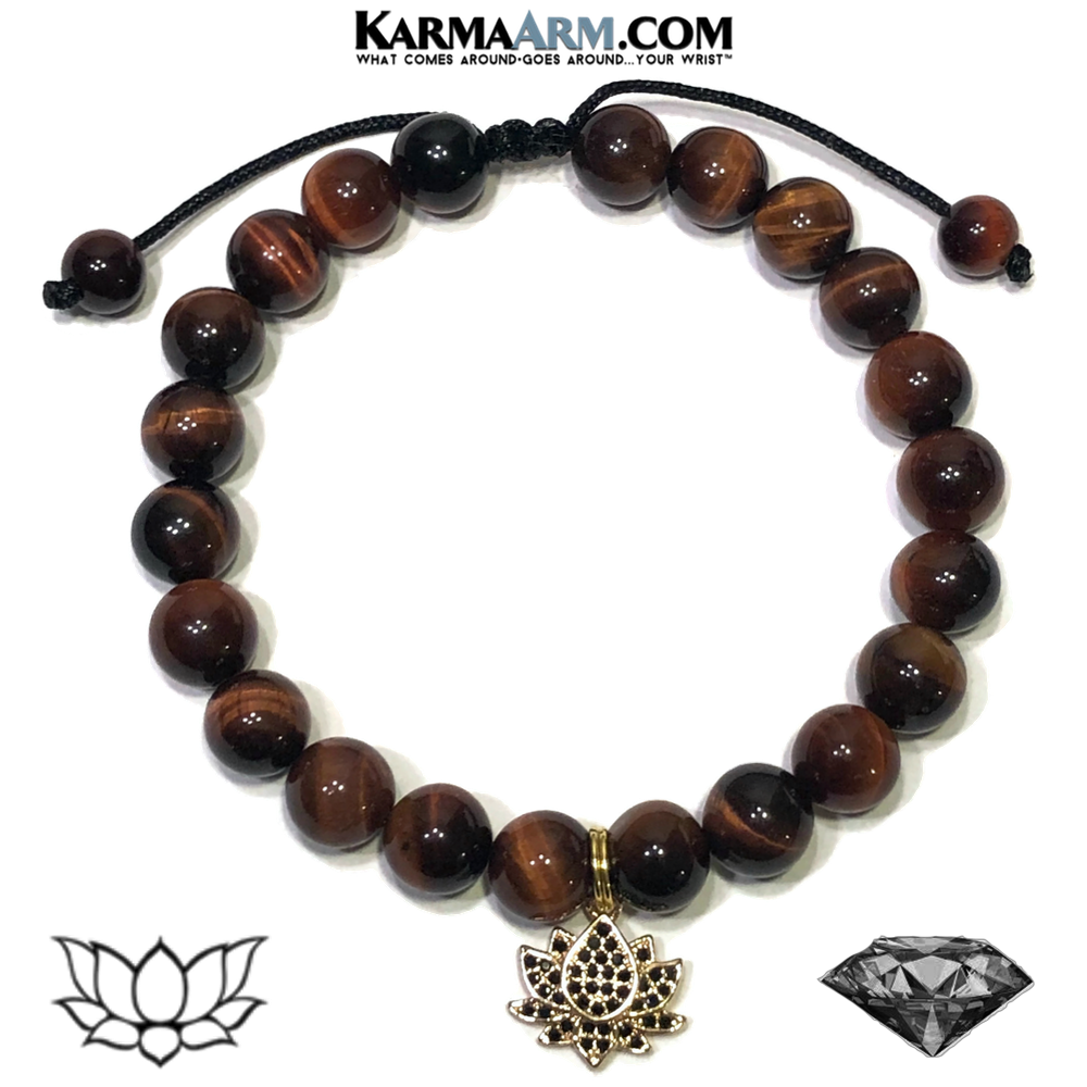 TURNING TO THE LIGHT | Red Tiger Eye | CZ Black Diamond Lotus | Adjustable Macrame Pull Tie Bracelet