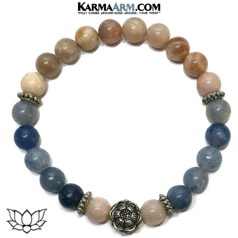 Lotus Meditation Mens Bracelet. Self-Care Wellness Wristband Yoga Jewelry. Sunstone. Blue Aventurine.