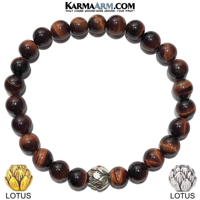Lotus Meditation Wellness Yoga Bracelets. Mens Wristband Jewelry.  Red Tiger Eye.