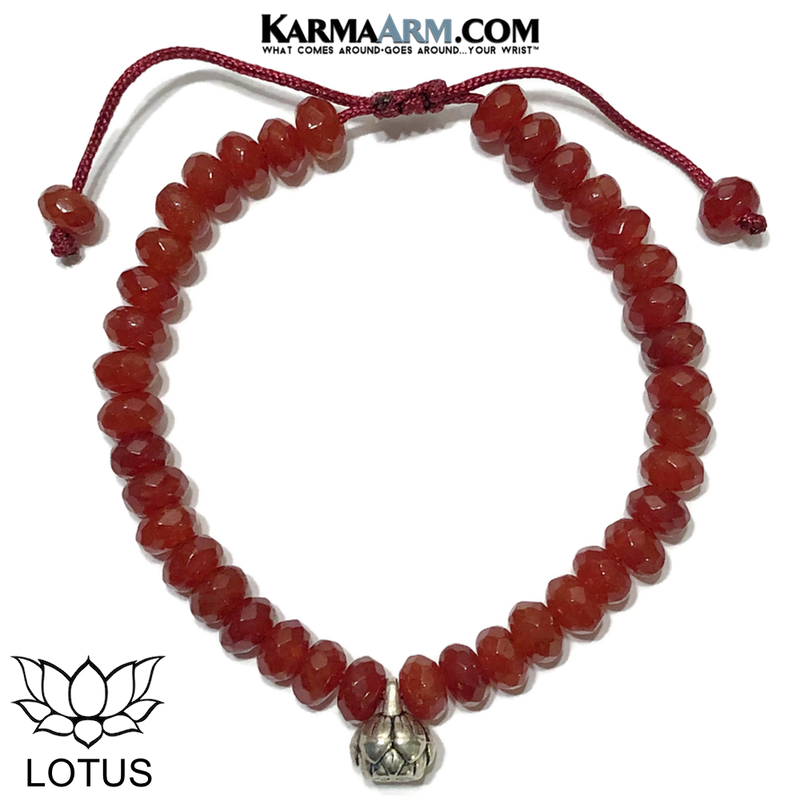 Lotus Meditation Yoga Bracelet. Self-Care Wellness Wristband Red Agate.