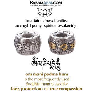 Lotus Om Mani Padme Hum Meditation Wellness Yoga Bracelets. Mens Wristband Jewelry.