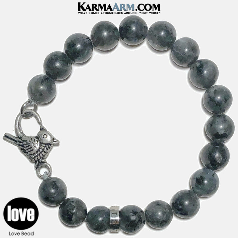 LOVE BIRD | Black Moonstone | LOVE Bead Bracelet