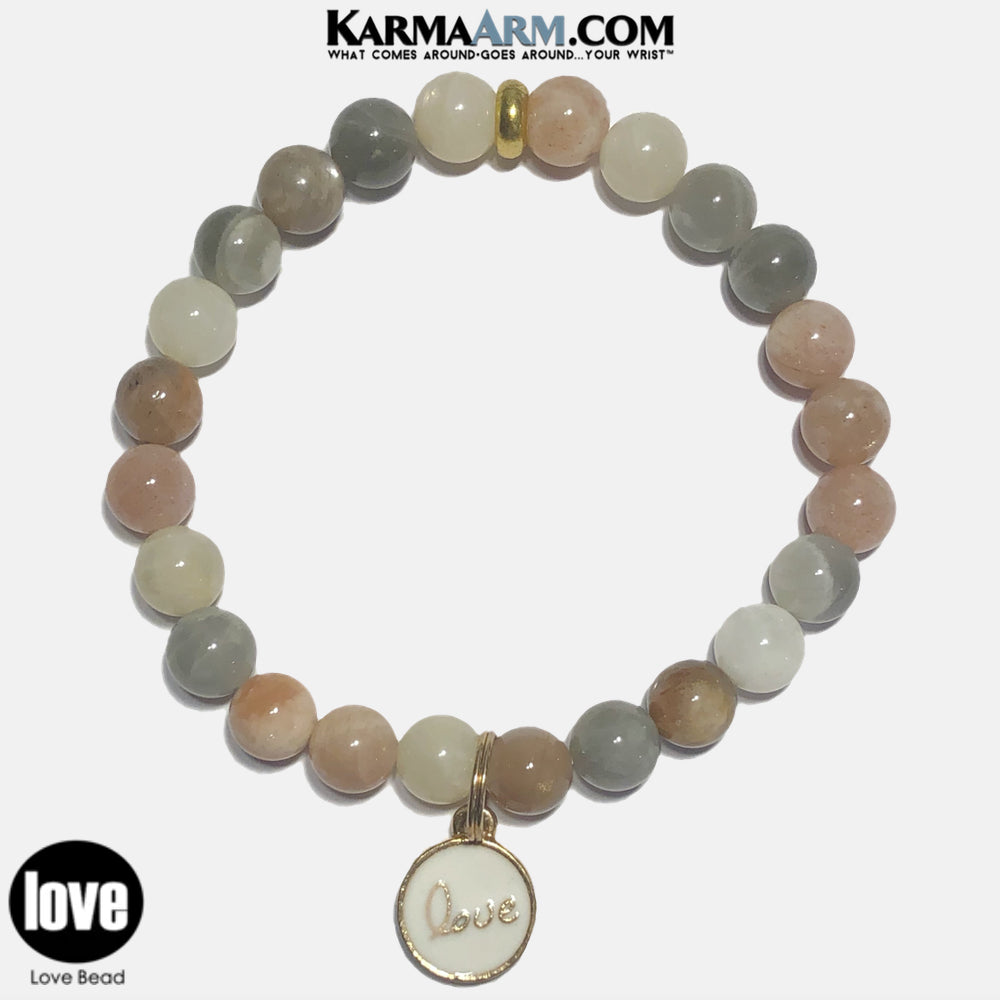 Love Charm Meditation Mens Bracelet. Self-Care Wellness Wristband Yoga Jewelry. Sunstone.
