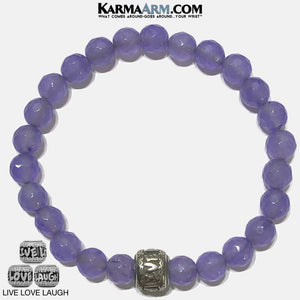 Love Laugh Live Meditation Mantra Yoga Bracelets. Mens Wristband Jewelry. Purple Jade.