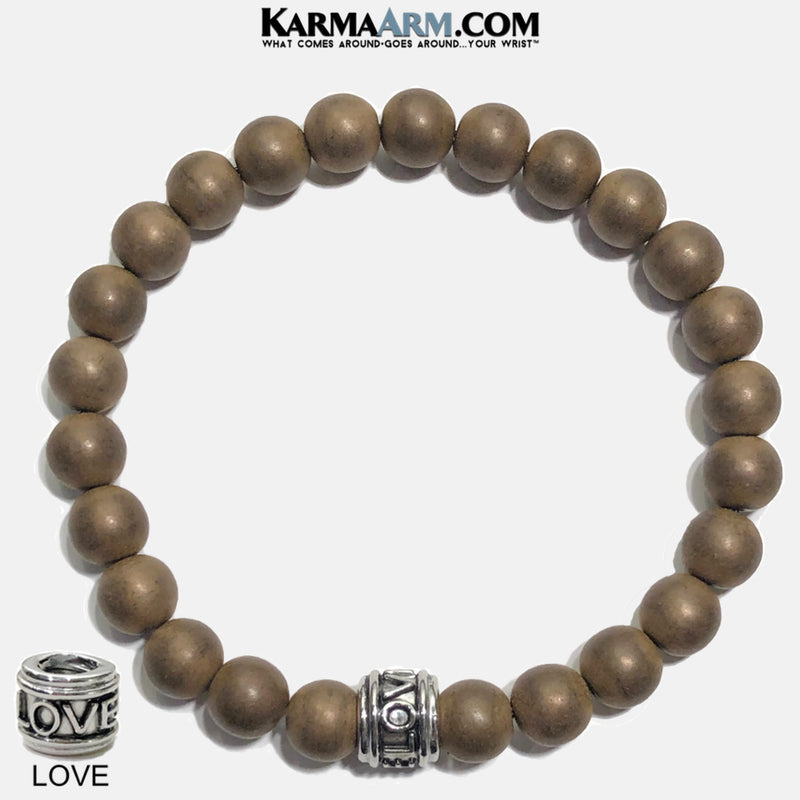 Love Meditation Mantra Yoga Bracelet. Copper Hematite Jewelry.