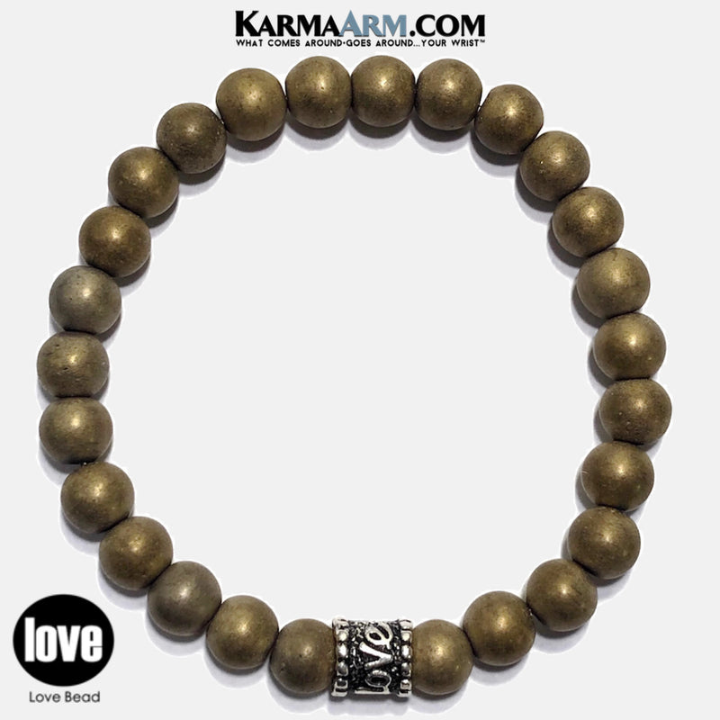 Love Yoga Bracelet wristband. Love Jewelry. Meditation Zen Beaded Bracelet. GOLD Hematite. copy