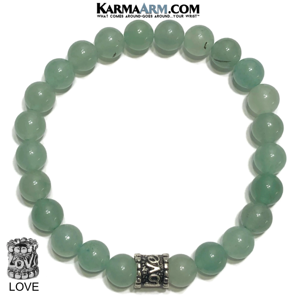 Love Bead Meditation Yoga Bracelets. Self-Care Wellness Wristband Jewelry. Green Aventurine.