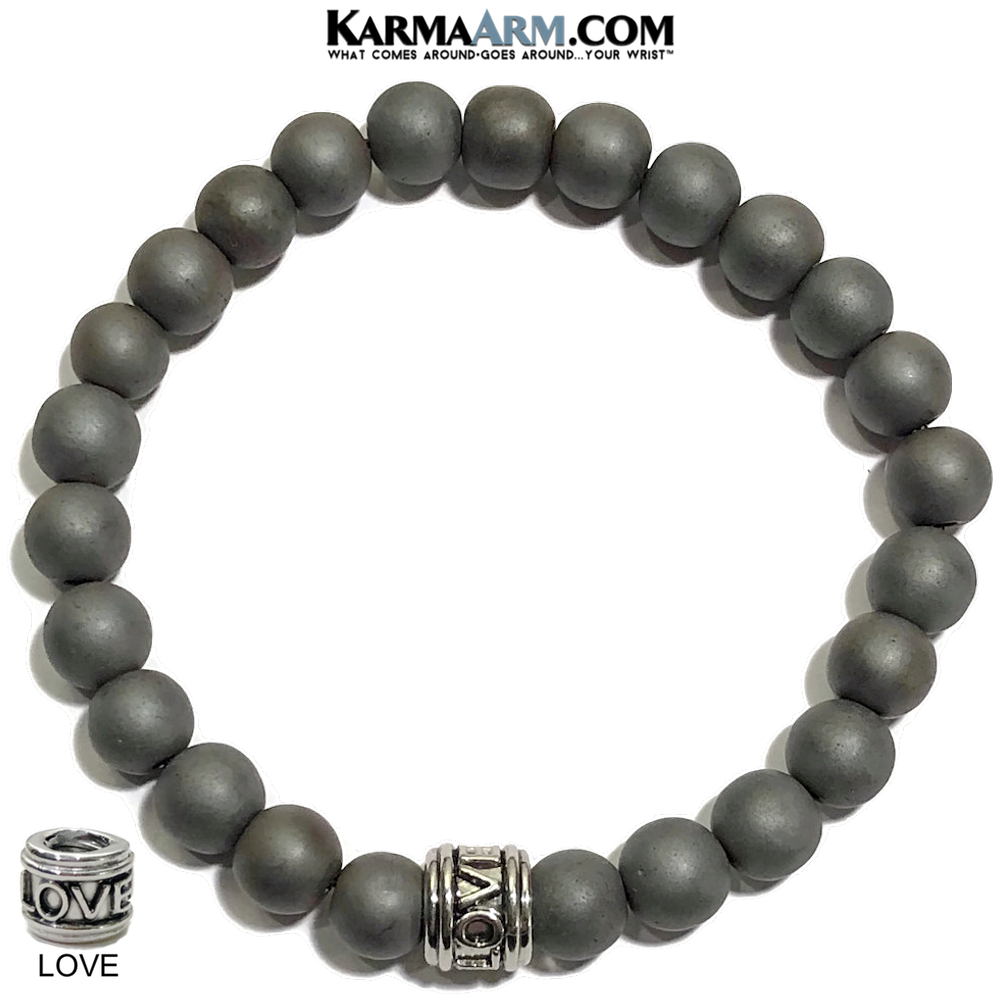 Love Bracelet. Meditation Mantra Yoga . Mens Wristband Jewelry. Hematite.