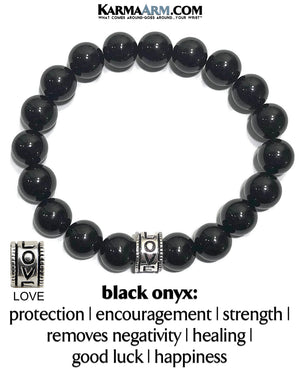 Love Bracelet. Yoga Jewelry. Meditation Zen Beaded Bracelet. Black Onyx.