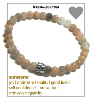 Love Heart Wellness Meditation Mens Bracelet. Self-Care Wristband Yoga Jewelry.  6mm eternity heart. Sunstone.